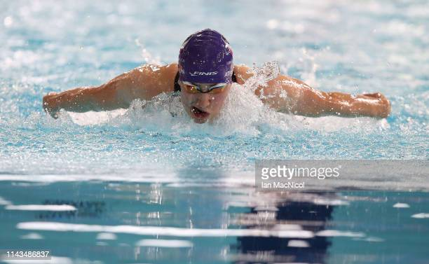 Charlotte Atkinson of Loughboro University competes in the heats of the Women's 200m Butterfly during day three of the British Swimming Championships...