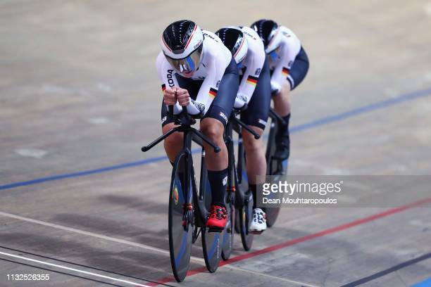 Charlotte Becker Franziska Brausse Lisa Brennauer and Lisa Klein of Germany compete in the Women's team pursuit qualifying on day one of the UCI...