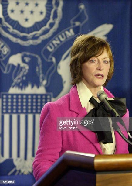 Charlotte Beers, the new Under Secretary of State for Public Diplomacy and Public Affairs, speaks at the National Press Club November 9, 2001 in...
