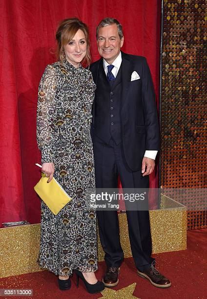 Charlotte Bellamy and John Middleton arrive for the British Soap Awards 2016 at the Hackney Town Hall Assembly Rooms on May 28 2016 in London England