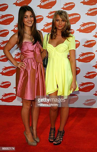 Charlotte Best and Indiana Evans arrive for the Australian Nickelodeon Kids' Choice Awards 2009 at Hisense Arena on November 13 2009 in Melbourne...