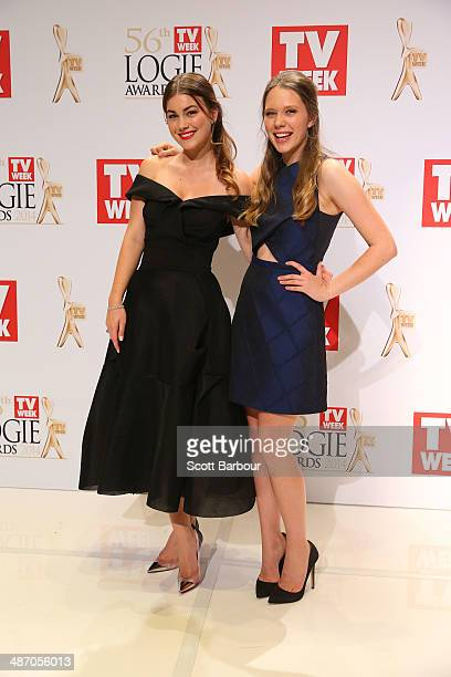Charlotte Best and Sue Knight pose in the awards room at the 2014 Logie Awards at Crown Palladium on April 27 2014 in Melbourne Australia