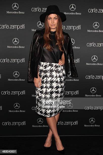 Charlotte Best wearing an outfit by Carla Zampatti attends the Carla Zampatti show during MercedesBenz Fashion Week Australia 2014 at Carriageworks...