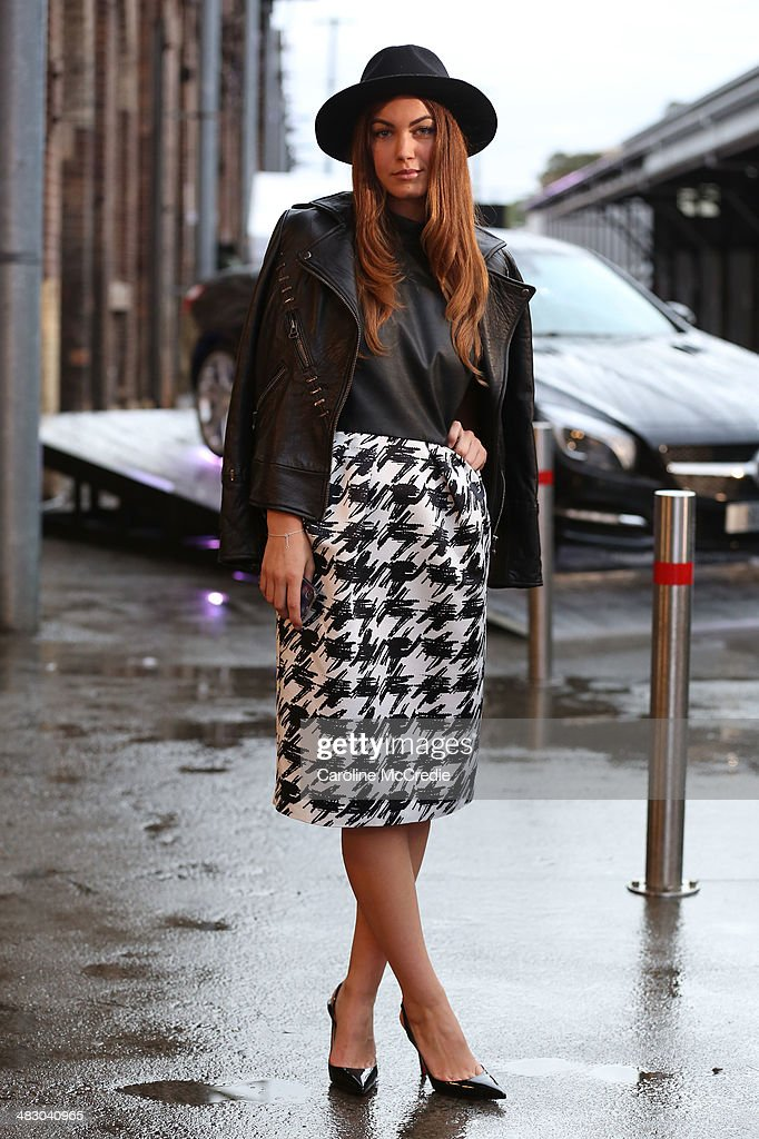 Charlotte Best wears an outfit by Carla Zampatti at Mercedes-Benz Fashion Week Australia 2014 at Carriageworks on April 6, 2014 in Sydney, Australia.