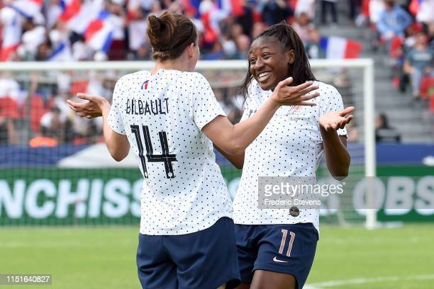 Charlotte Bilbault and Kadidiatou Diani of France react after the goal during the International Friendly between France women and Thailand women on...