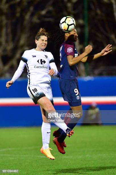 Charlotte Bilbault of Paris FC and Marie Antoinette Katoto of PSG during the Women's Division 1 match between Paris Saint Germain and Paris FC on...
