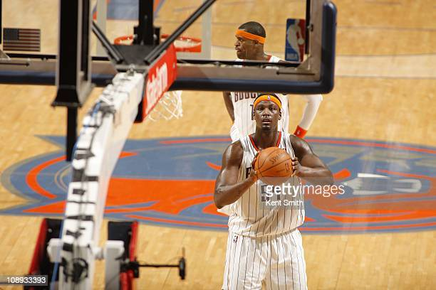 Charlotte Bobcats center Kwame Brown aims at the basket during the game against the Dallas Mavericks on February 5 2011 at Time Warner Cable Arena in...