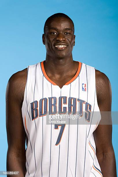 Charlotte Bobcats DeSagana Diop poses for a portrait during 2010 NBA Media Day at Time Warner Cable Arena on September 27 2010 in Charlotte North...