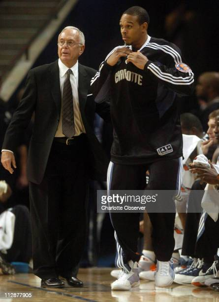 Charlotte Bobcats head coach Larry Brown sends guard Shannon Brown into the game against the Denver Nuggets during the first half. The Nuggets...