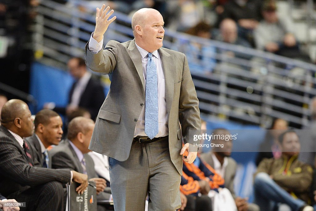 Charlotte Bobcats Head Coach Steve Clifford is in the game against Denver Nuggets at Pepsi Center. Denver. Colorado. January 29. 2014.