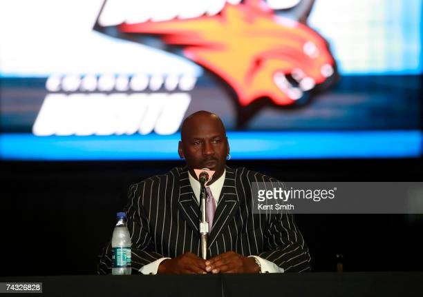 Charlotte Bobcats managing partner Michael Jordan attends a press conference to announce new head coach Sam Vincent on May 25 2007 at the Charlotte...