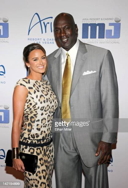Charlotte Bobcats owner Michael Jordan and his fiancee model Yvette Prieto arrive at the 11th annual Michael Jordan Celebrity Invitational gala at...