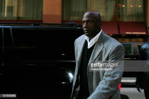 Charlotte Bobcats owner Michael Jordan arrives for NBA labor negotiations at Sheraton New York Hotel Towers on November 5 2011 in New York City...