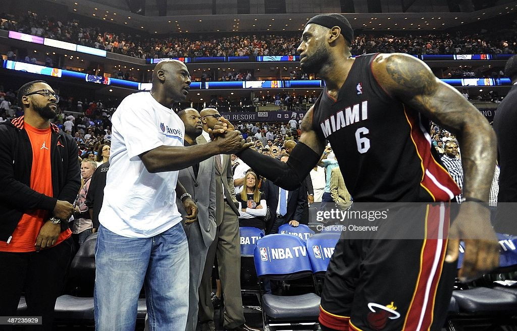 Charlotte Bobcats Team Owner Michael Jordan Shakes Hands With Miami