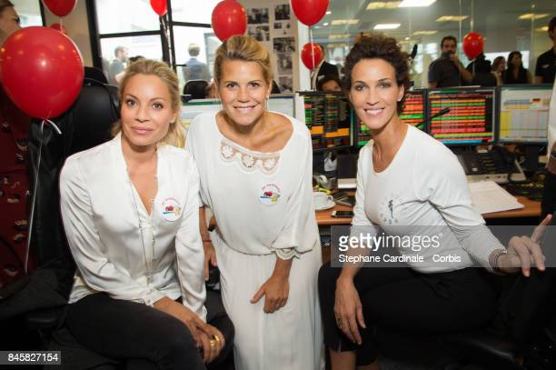 Charlotte Bouteloup Laura Tenoudji aka Laura du Web and Linda Hardy attend the Aurel BGC Charity Benefit Day 2017 on September 11 2017 in Paris France