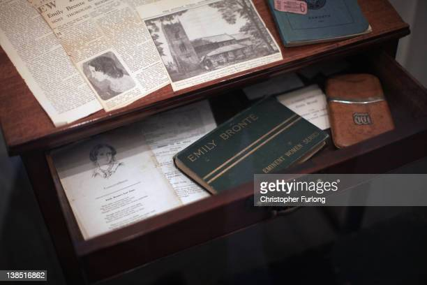 Charlotte Bronte's writing desk on display at the Bronte Parsonage Museum on February 8 2012 in Haworth England The famous Bronte sisters lived at...