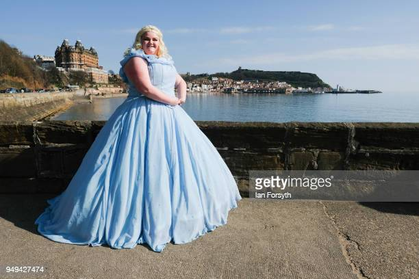 Charlotte Brown from Filey dresses as Cinderella as she attends the Scarborough Sci-Fi event held at the seafront Spa Complex on April 21, 2018 in...