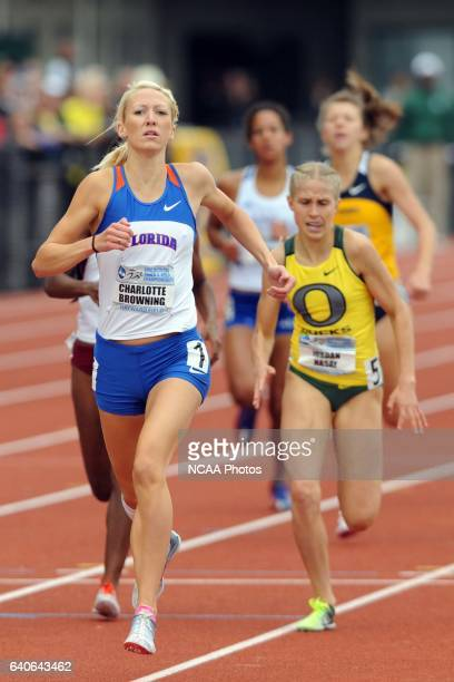 Charlotte Browning of Florida hits the finish line ahead of Jordan Hasay of Oregon to win the Women's 1500 meter run during the Division I Men's and...