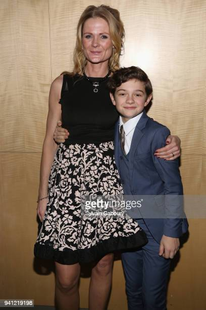 Charlotte Bruus Christensen and Noah Jupe attend A Quiet Place New York Premiere After Party on April 2 2018 in New York City