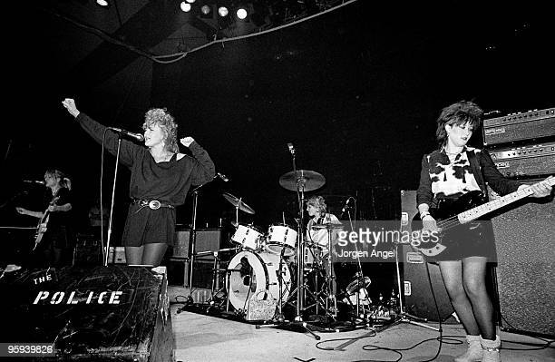 Charlotte Caffey Belinda Carlisle Gina Schock and Kathy Valentine of The GoGo's perform on stage at Brondyhallen supporting The Police on January 5th...