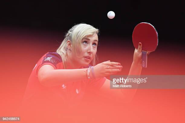 Charlotte Carey of Wales competes during the Table Tennis Women's Team preliminary round against Hansani Kapugeekiyana of Sri Lanka on day two of the...