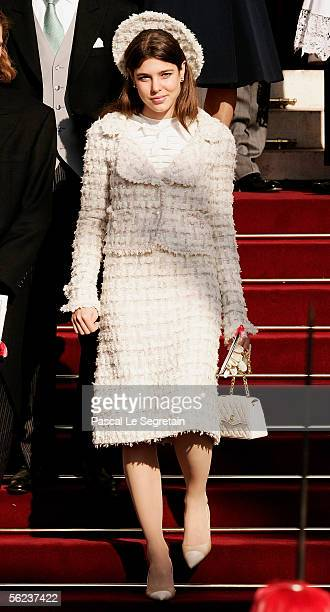 Charlotte Casighari daughter of Princess Caroline of Monaco leaves Monaco Cathedral as part of Monaco's National Day celebrations which this year...