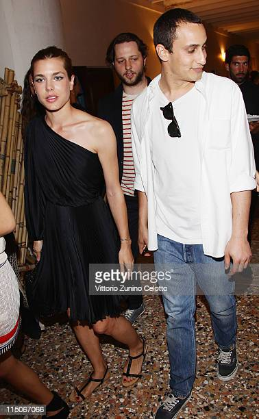 Charlotte Casiraghi and Alex Dellal attend the 'Hogan And Big Bambu' Cocktail Party during the 54th International Art Biennale on June 2 2011 in...