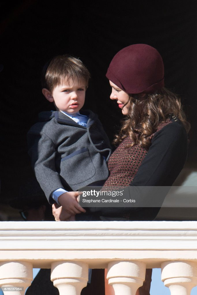 Charlotte Casiraghi and and her son Raphael Elmaleh greet the crowd from the palace's balcony during the Monaco National Day Celebrations on November 19, 2017 in Monaco, Monaco.