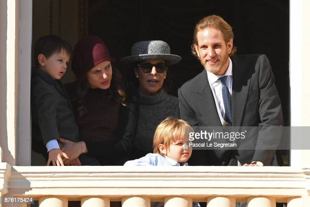 Charlotte Casiraghi and and her son Raphael Princess Caroline of Hanover and Andrea Casiraghi greet the crowd from the palace's balcony during the...