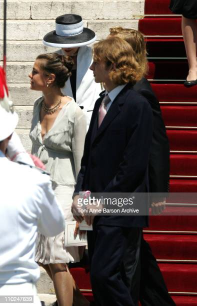Charlotte Casiraghi and Andrea Casiraghi during HSH Prince Albert II's Accession to the Throne of Monaco Mass Service Departure at Cathedral in...