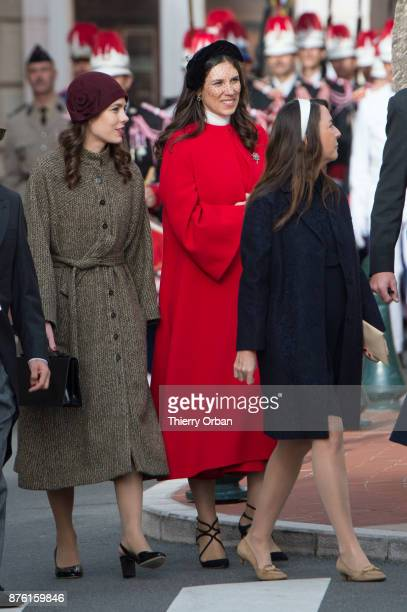 Charlotte Casiraghi and Beatrice Boromeo attend a Mass at Monaco Cathedral during the Monaco National Day Celebrations on November 19 2017 in Monaco...