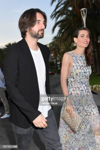 Charlotte Casiraghi and Dimitri Rassam are seen during the 74th annual Cannes Film Festival at on July 07, 2021 in Cannes, France.