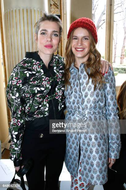 Charlotte Casiraghi and Eugenie Niarchos attend the Giambattista Valli show as part of the Paris Fashion Week Womenswear Fall/Winter 2017/2018 on...
