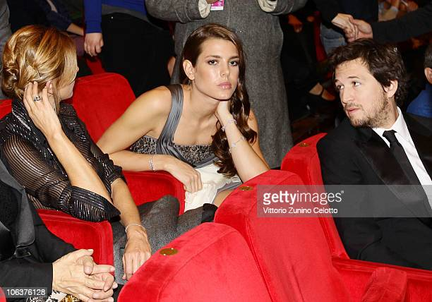 Charlotte Casiraghi and Guillaume Canet attend the 'La Dolce Vita' world restoration premiere during The 5th International Rome Film Festival at...