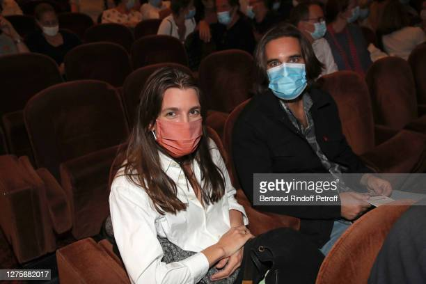 """Charlotte Casiraghi and her husband Dimitri Rassam attend the """"Par le bout du nez"""" : Press Preview at Theatre Antoine on September 22, 2020 in Paris,..."""
