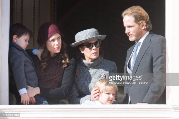 Charlotte Casiraghi and her son Raphael Princess Caroline of Hanover Andrea Casiraghi and his son Sacha greet the crowd from the palace's balcony...