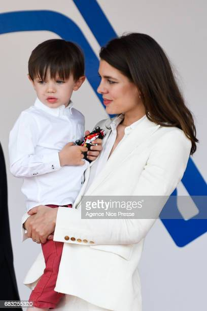 Charlotte Casiraghi and his son Raphael Elmaleh during the Grand Prix of Monaco on May 13 2017 in Monaco Monaco