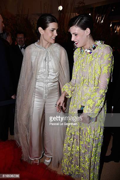 Charlotte Casiraghi and Juliette Maillot arrive at The 62nd Rose Ball To Benefit The Princess Grace Foundation at Sporting MonteCarlo on March 19...