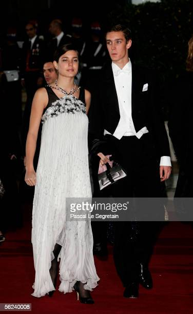 Charlotte Casiraghi and Pierre Casiraghi arrive at the Opera Garnier Gala Night as part of Monaco's National Day celebrations which this year double...