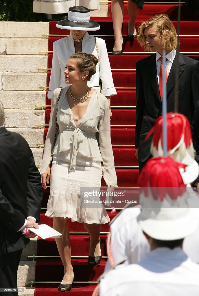 Charlotte Casiraghi and Pierre Casiraghi leave Monaco Cathedral after the enthronement mass. Prince Albert II, 47, took over as ruler of the principality following the death of his father, Prince Rainier in April.