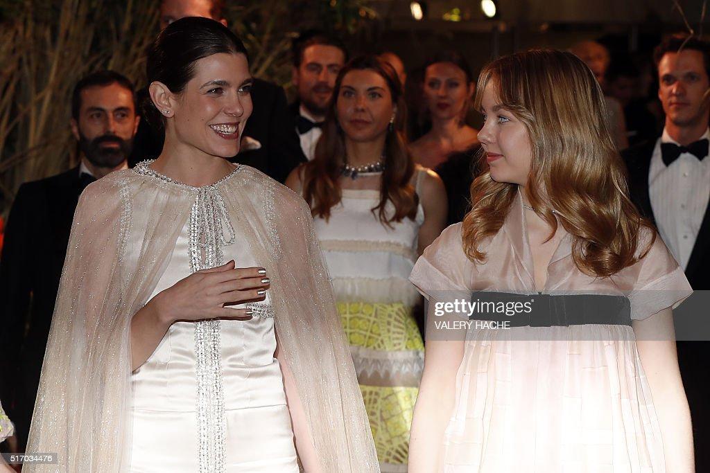 Charlotte Casiraghi (L) and Princess Alexandra of Hanover (R) arrive ...
