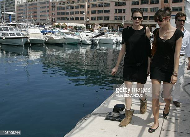 Charlotte Casiraghi and the daughter of Jean Christophe Maillot, the choreograph of the Ballet of Monte Carlo, in Monaco on June 29, 2007.