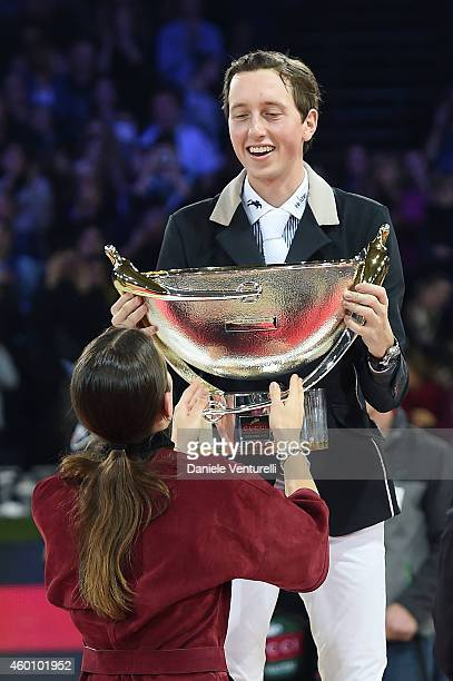 Charlotte Casiraghi and Winner of Gucci Grand Prix Martin Fuchs attend the Gucci Paris Masters 2014 at Paris Nord Villepinte on December 7 2014 in...