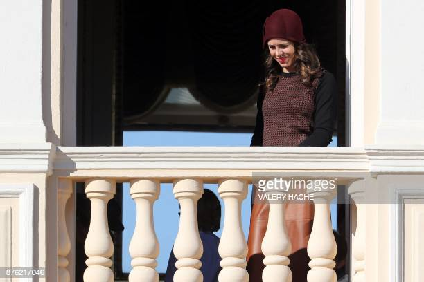 Charlotte Casiraghi appears on the balcony of the Monaco Palace during the celebrations marking Monaco's National Day on November 19 2017 in Monaco /...