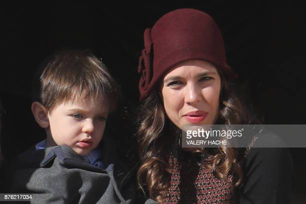 Charlotte Casiraghi appears with his son Raphael on the balcony of the Monaco Palace during the celebrations marking Monaco's National Day on...
