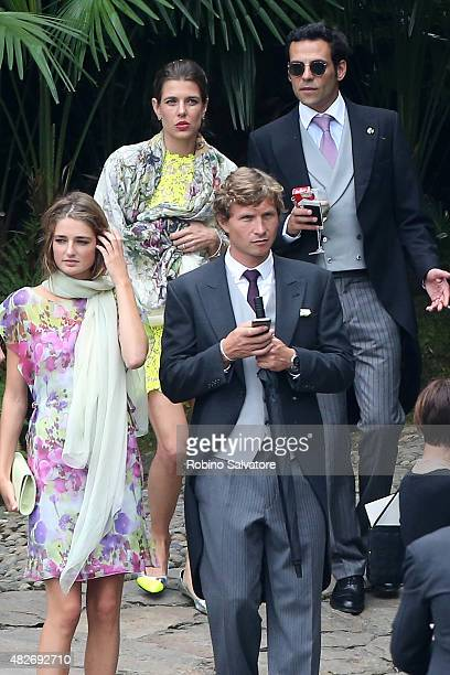 Charlotte Casiraghi arrives at Pierre Casiraghi and Beatrice Borromeo Wedding Ceremony on August 1 2015 in Verbania Italy