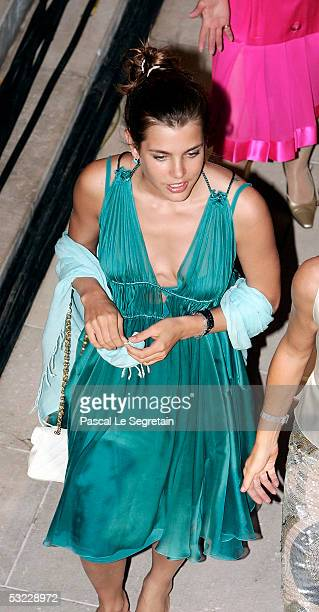 Charlotte Casiraghi arrives at the ball for Monegasques and Monaco residents at Quai Albert Ier port on July 12 2005 in Monte Carlo Monaco The...