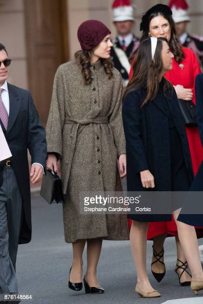 Charlotte Casiraghi arrives at the Cathedral of Monaco before a mass during the Monaco National Day Celebrations on November 19 2017 in Monaco Monaco