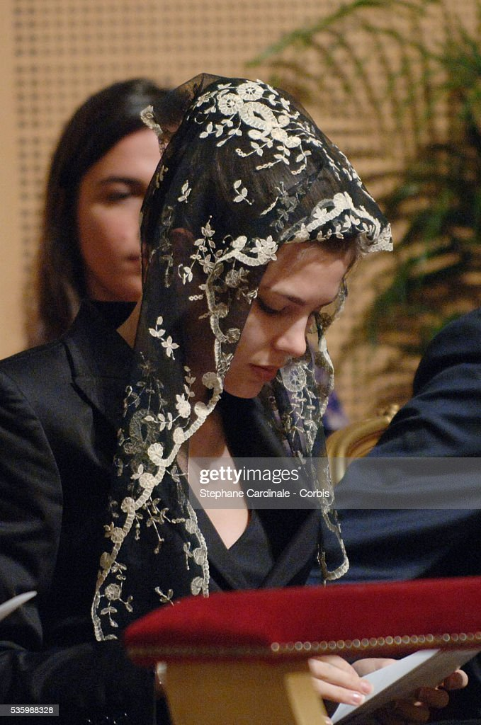 Charlotte Casiraghi at the mass marking the first anniversary of Prince Rainier III's death.