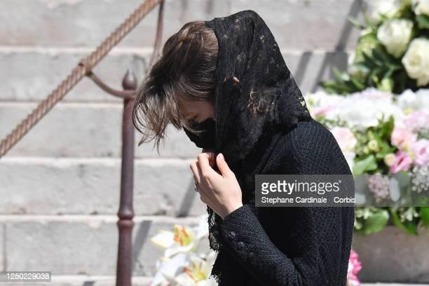 Charlotte Casiraghi attends ElizabethAnn De Massy's Funerals at the Monaco Cathedral on June 17 2020 in Monaco Monaco